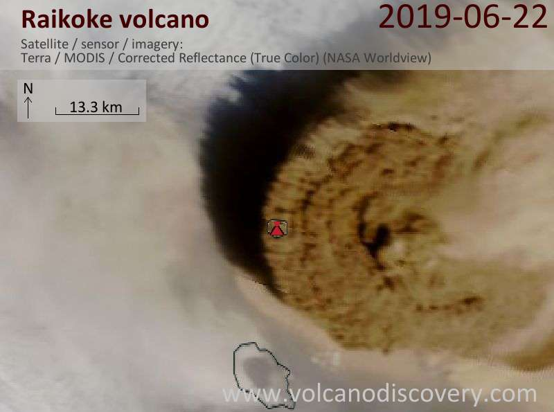 Satellite image of Raikoke's rising eruption column from the second pulse with the plume head seen from almost vertically above