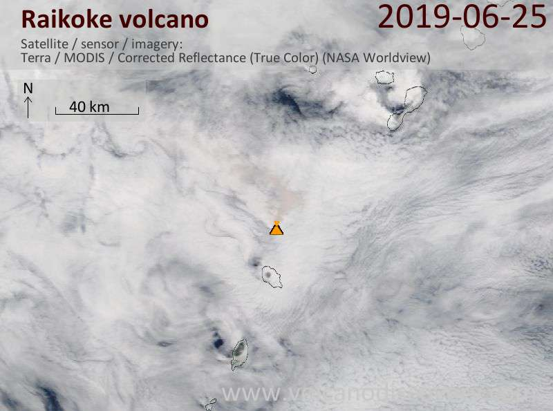 Satellite image of Raikoke volcano on 25 Jun 2019