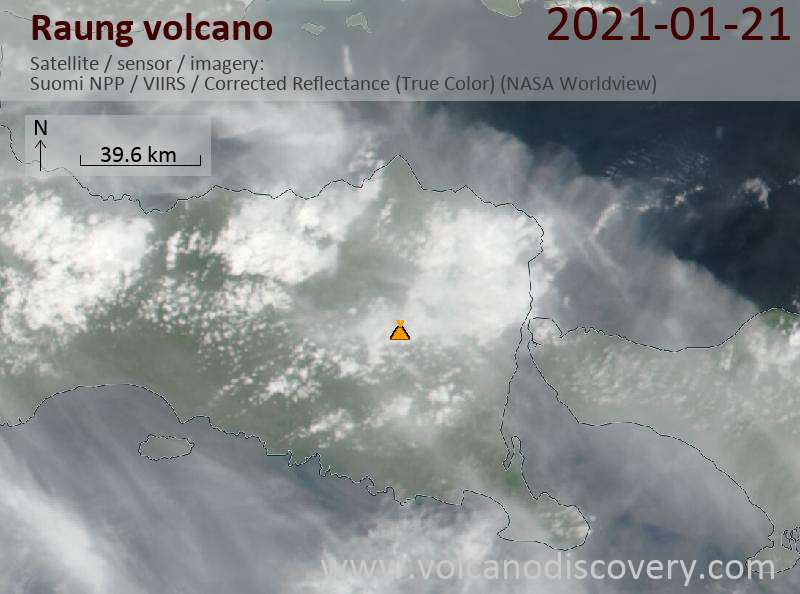Satellite image of Raung volcano on 21 Jan 2021
