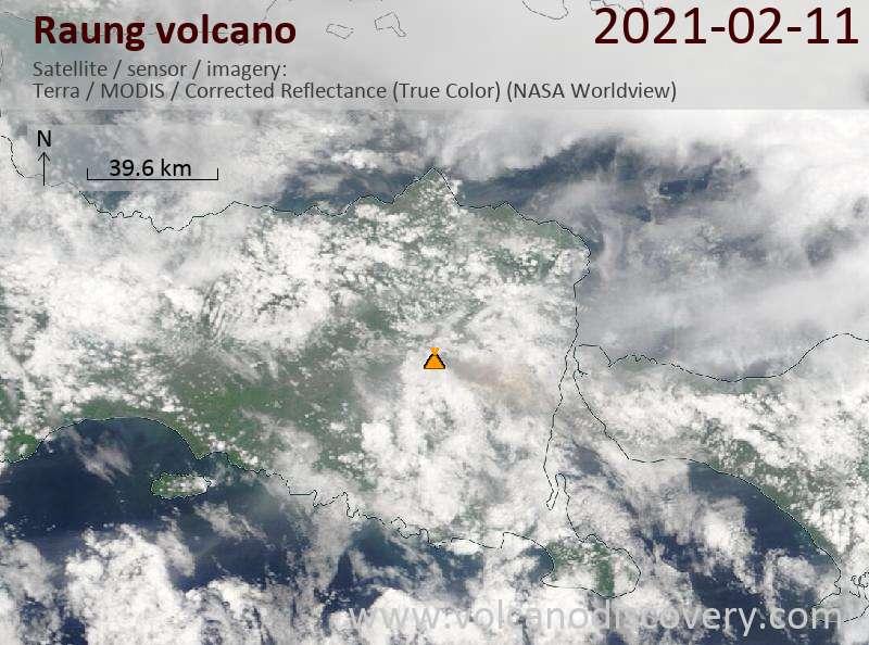 Satellite image of Raung volcano on 11 Feb 2021