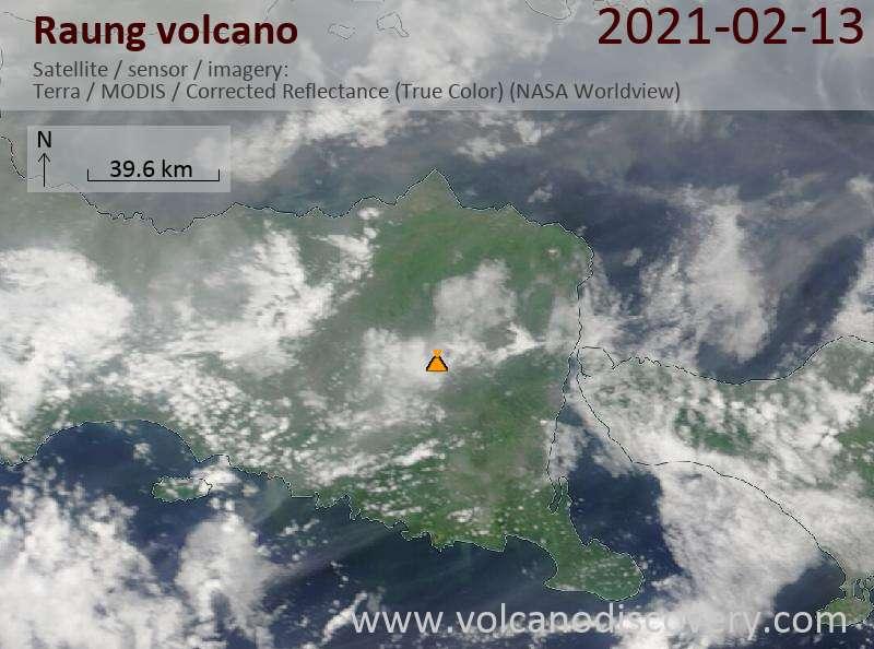 Satellitenbild des Raung Vulkans am 13 Feb 2021