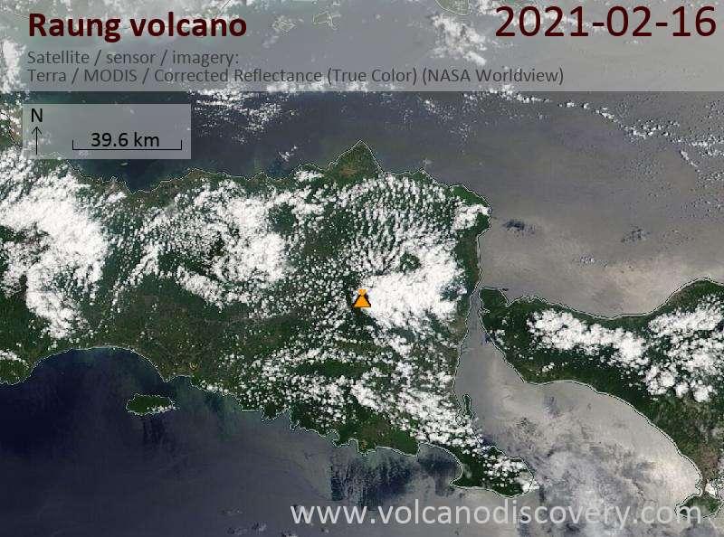 Satellitenbild des Raung Vulkans am 16 Feb 2021