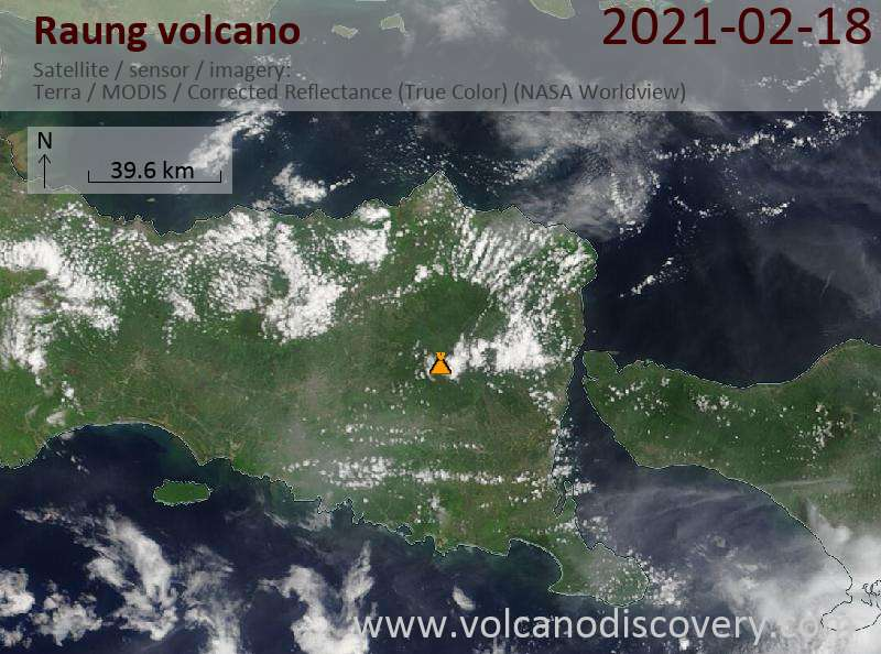 Satellite image of Raung volcano on 18 Feb 2021