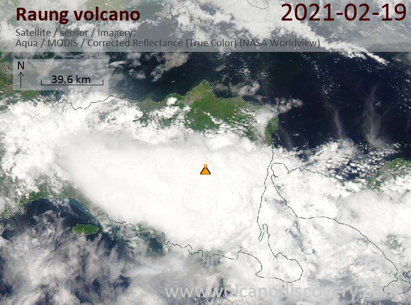 Satellite image of Raung volcano on 19 Feb 2021