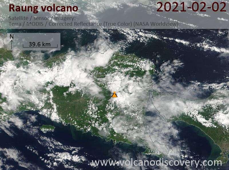 Satellite image of Raung volcano on  2 Feb 2021