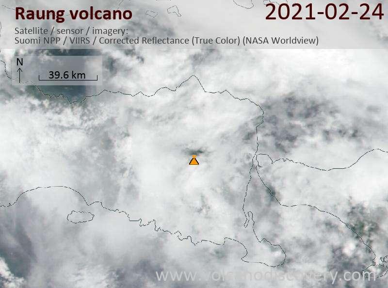Satellite image of Raung volcano on 24 Feb 2021
