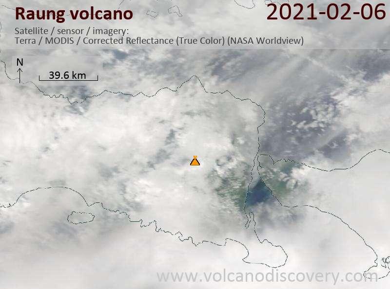 Satellite image of Raung volcano on  6 Feb 2021