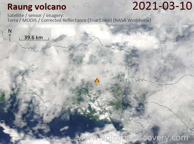 Satellite image of Raung volcano on 10 Mar 2021