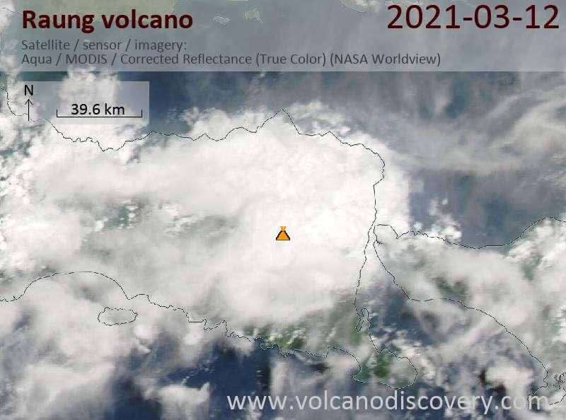 Satellite image of Raung volcano on 13 Mar 2021