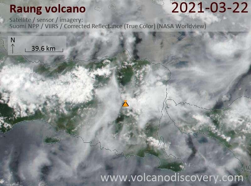 Satellite image of Raung volcano on 23 Mar 2021