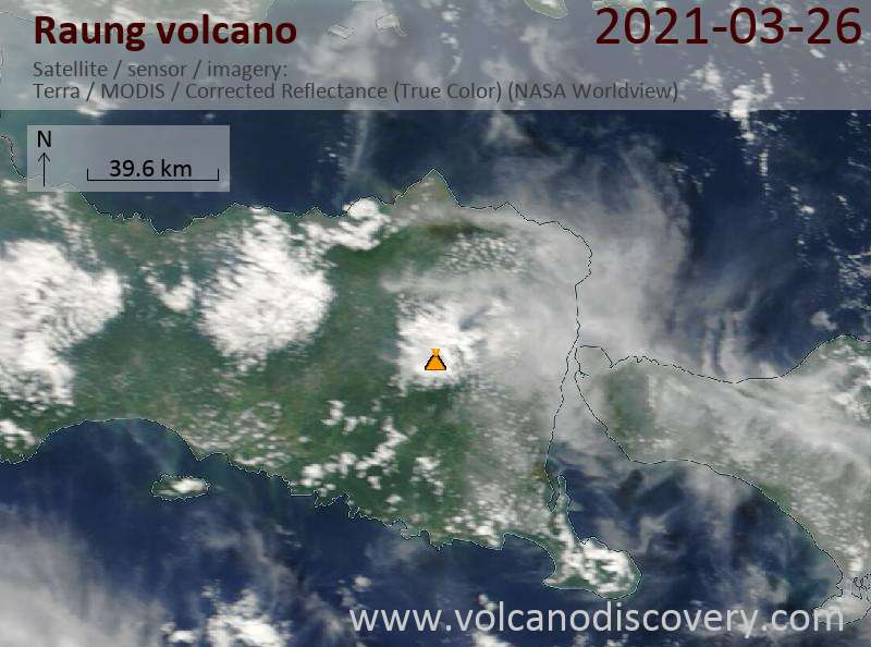 Satellite image of Raung volcano on 26 Mar 2021