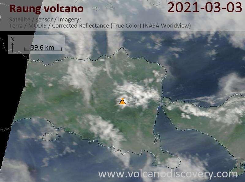 Satellite image of Raung volcano on  3 Mar 2021