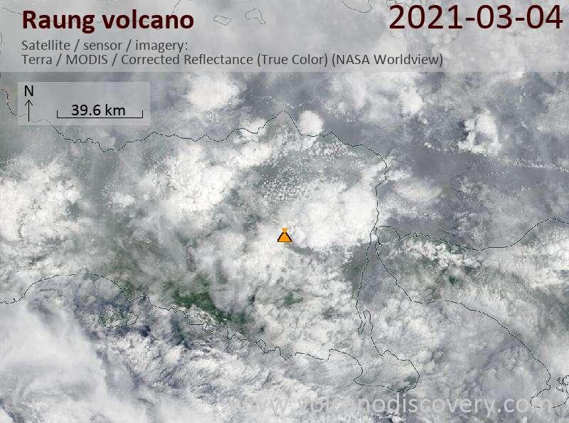 Satellite image of Raung volcano on  4 Mar 2021