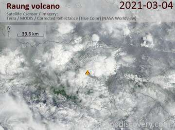 Satellite image of Raung volcano on  4 Mar 2021