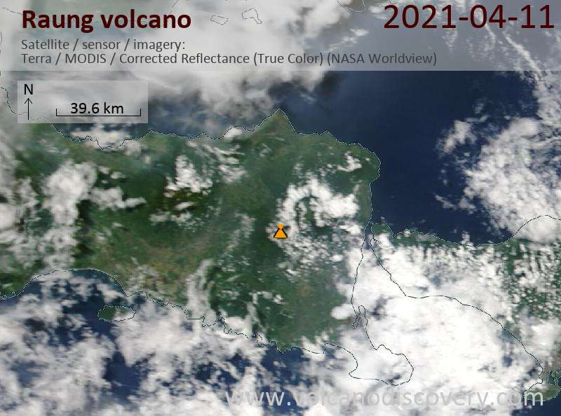 Satellite image of Raung volcano on 12 Apr 2021