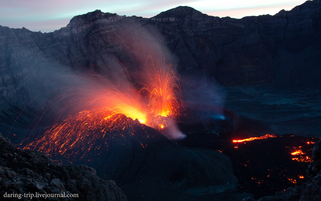 Strombolian activity from a new vent inside Raung's summit caldera (image: Sofya Klimova)