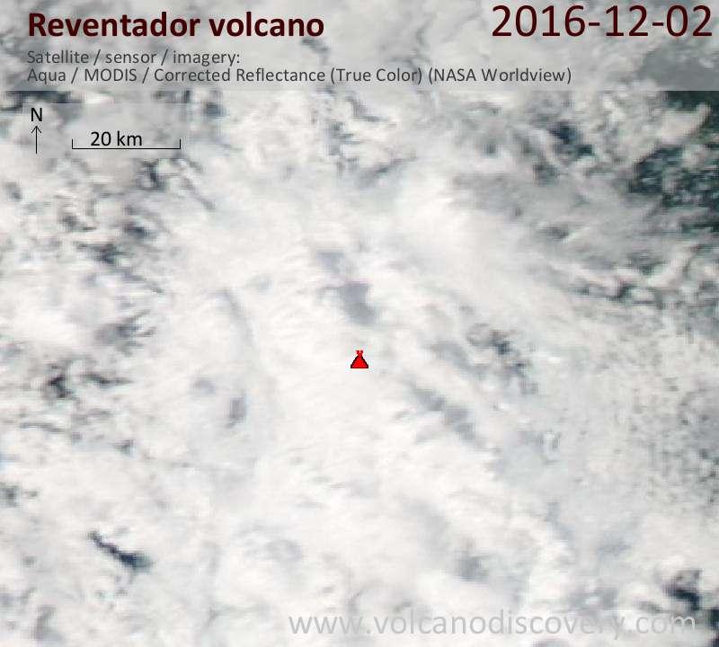 Satellite image of Reventador volcano on  3 Dec 2016