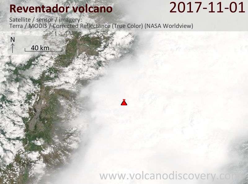 Satellite image of Reventador volcano on  1 Nov 2017