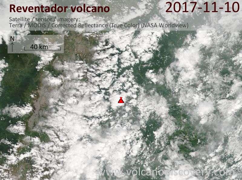 Satellite image of Reventador volcano on 10 Nov 2017