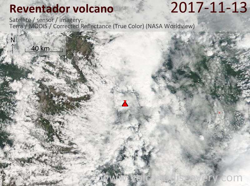 Satellite image of Reventador volcano on 13 Nov 2017