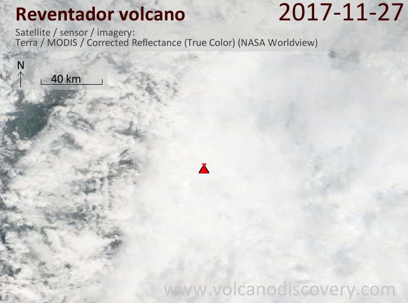 Satellite image of Reventador volcano on 27 Nov 2017