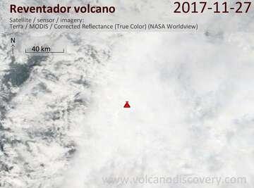 Satellite image of Reventador volcano on 27 Nov 2017