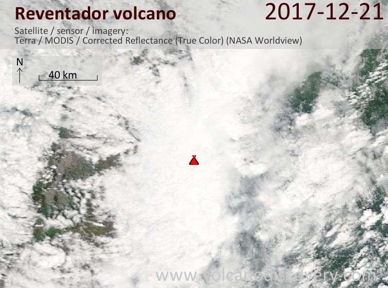 Satellite image of Reventador volcano on 21 Dec 2017