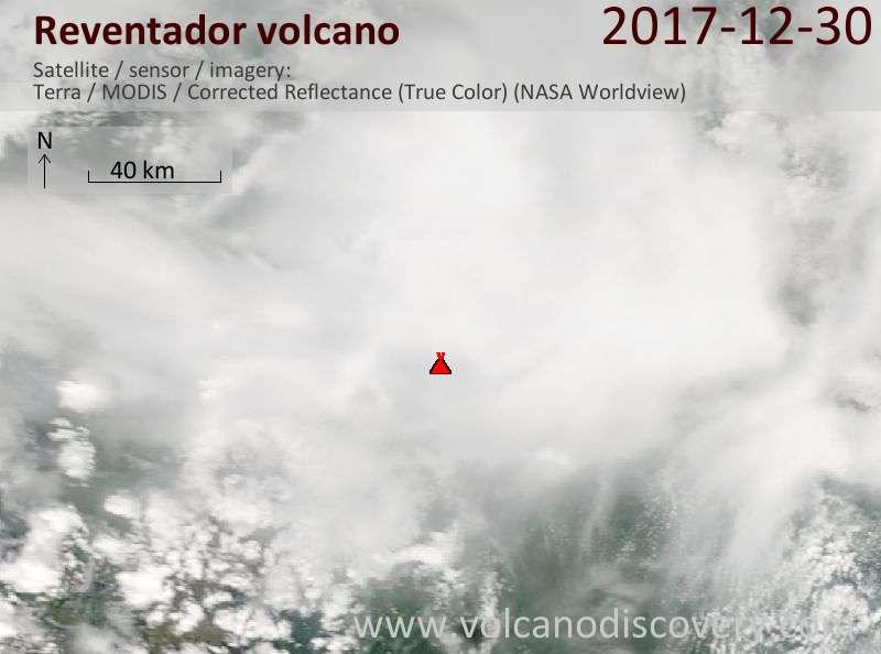 Satellite image of Reventador volcano on 30 Dec 2017