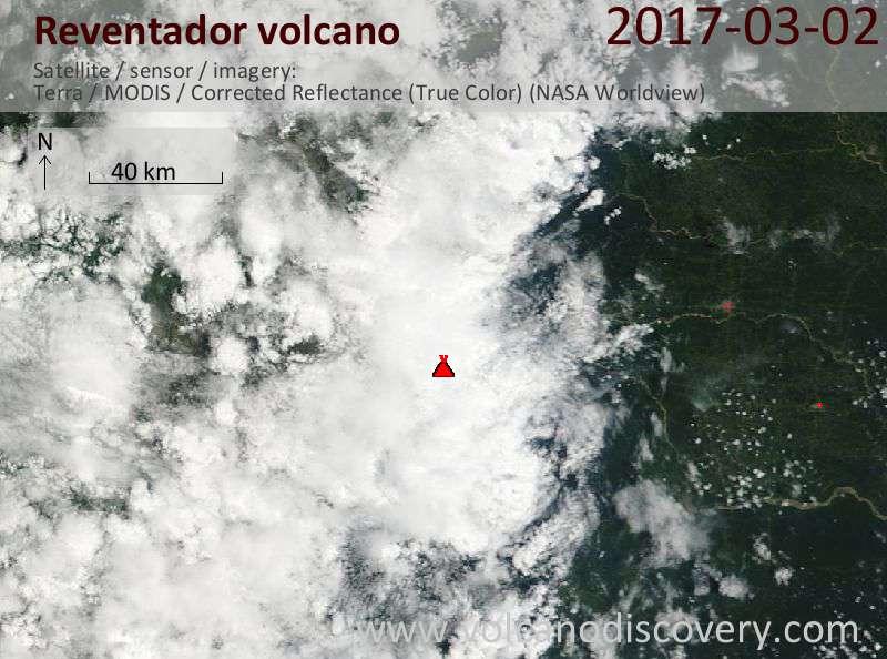 Satellite image of Reventador volcano on  2 Mar 2017
