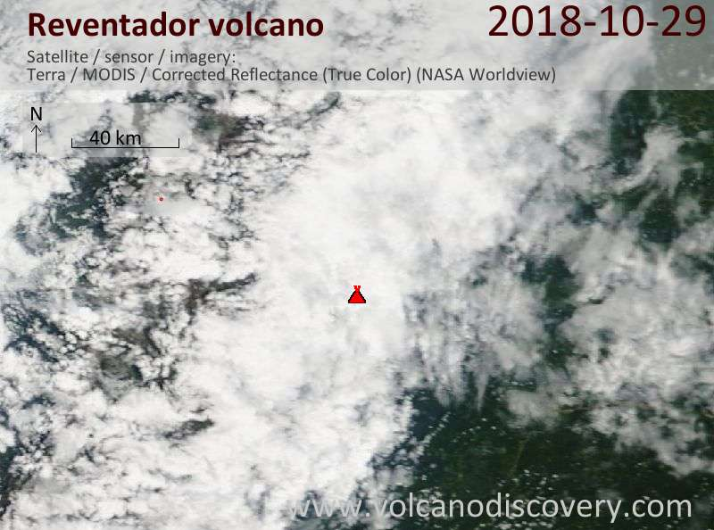 Satellite image of Reventador volcano on 29 Oct 2018