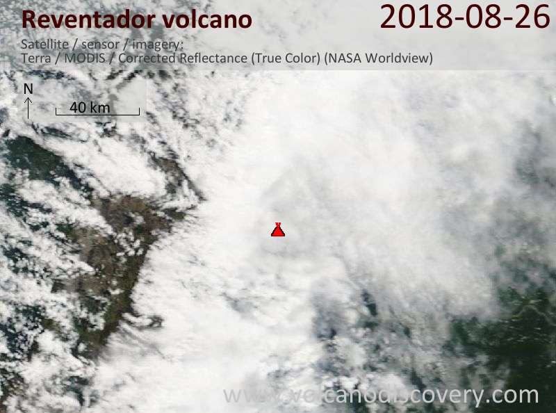 Satellite image of Reventador volcano on 26 Aug 2018