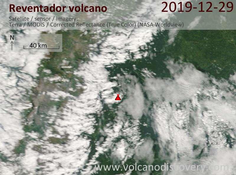 Спутниковое изображение вулкана Reventador 29 Dec 2019
