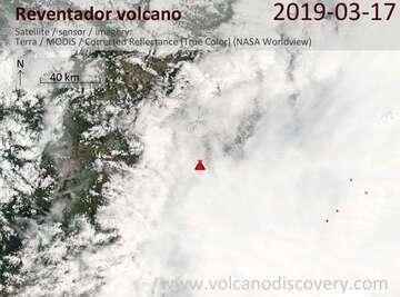 Satellite image of Reventador volcano on 17 Mar 2019
