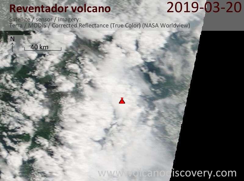 Спутниковое изображение вулкана Reventador 20 Mar 2019