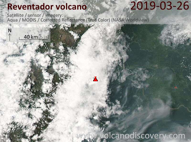 Спутниковое изображение вулкана Reventador 27 Mar 2019