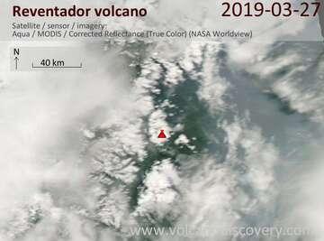 Satellite image of Reventador volcano on 28 Mar 2019