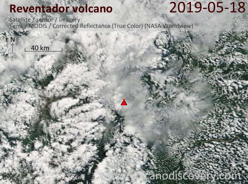 Satellite image of Reventador volcano on 18 May 2019