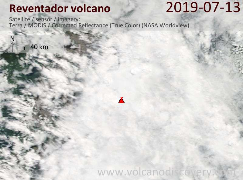 Satellitenbild des Reventador Vulkans am 14 Jul 2019
