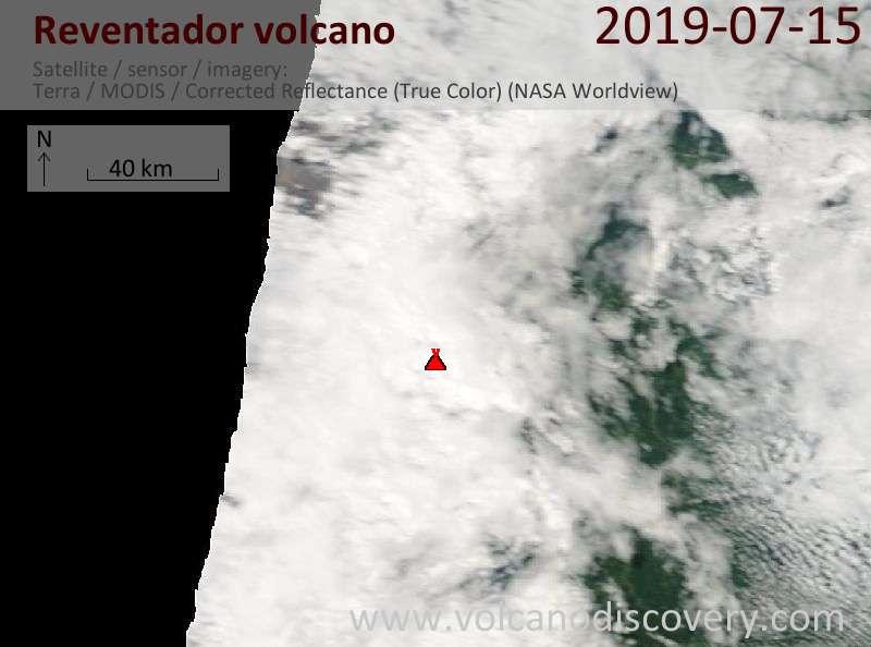 Satellite image of Reventador volcano on 15 Jul 2019