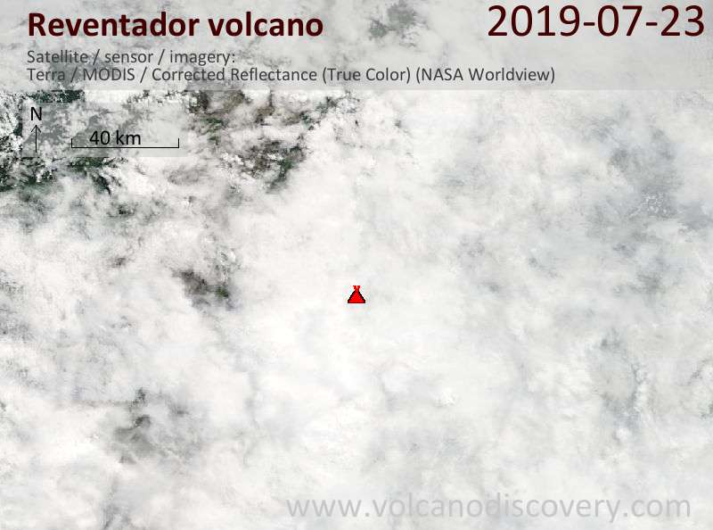 Satellitenbild des Reventador Vulkans am 23 Jul 2019