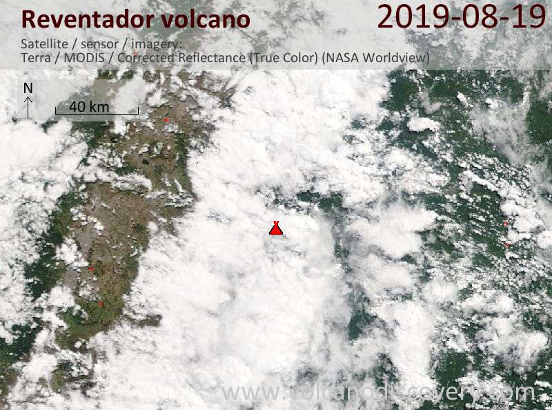Satellite image of Reventador volcano on 19 Aug 2019