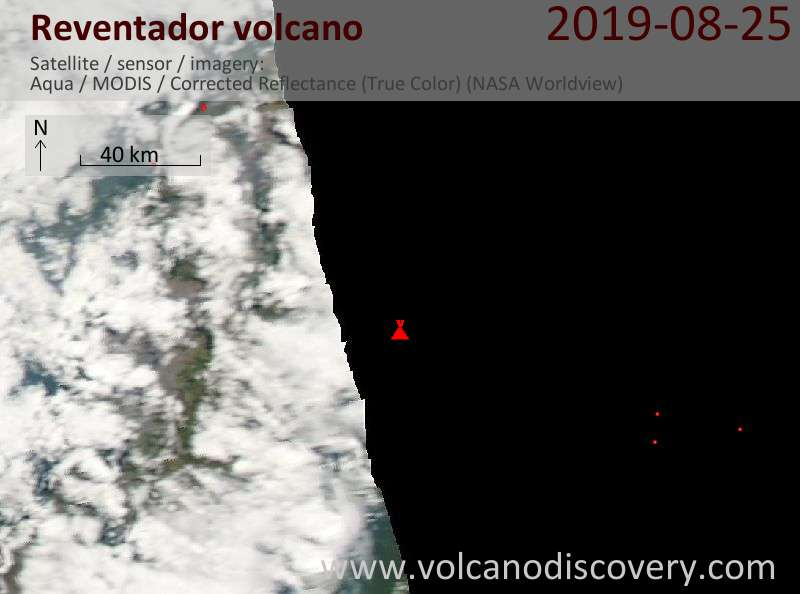 Satellite image of Reventador volcano on 26 Aug 2019