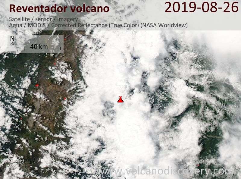 Satellite image of Reventador volcano on 27 Aug 2019