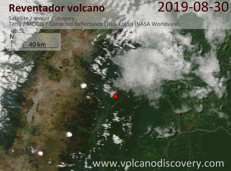 Satellite image of Reventador volcano on 30 Aug 2019