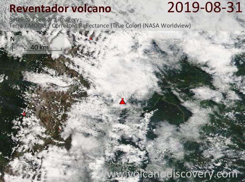Satellite image of Reventador volcano on 31 Aug 2019