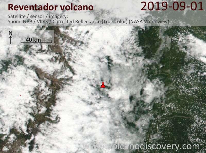 Satellite image of Reventador volcano on  1 Sep 2019