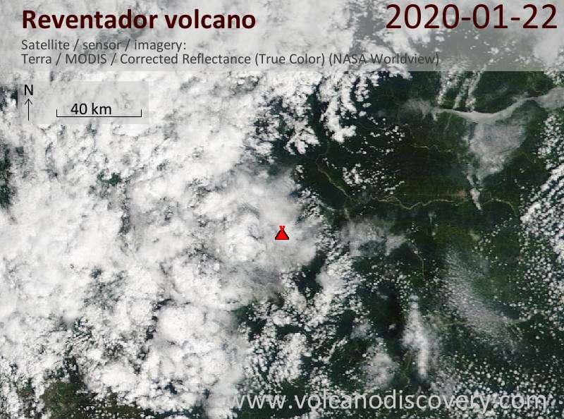 Спутниковое изображение вулкана Reventador 22 Jan 2020