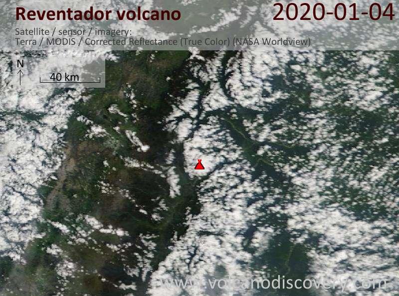 Satellite image of Reventador volcano on  4 Jan 2020