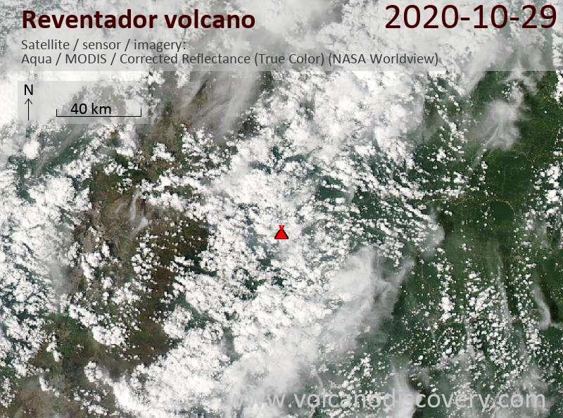 Satellite image of Reventador volcano on 29 Oct 2020
