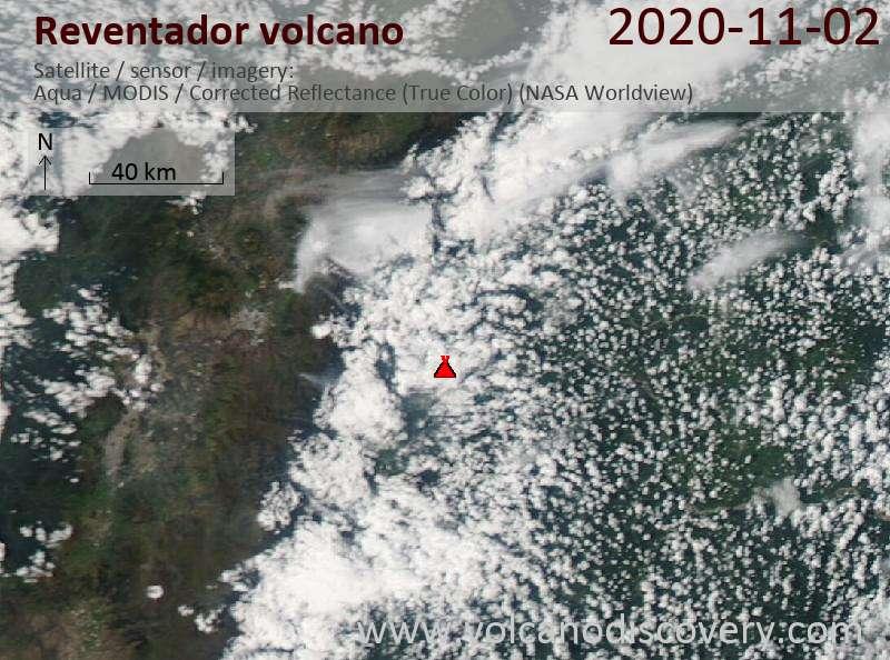 Satellite image of Reventador volcano on  3 Nov 2020